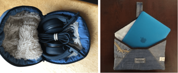 head phone, laptop case made of a discarded jeans