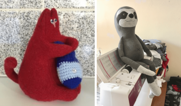 soft toys made of old felted sweaters