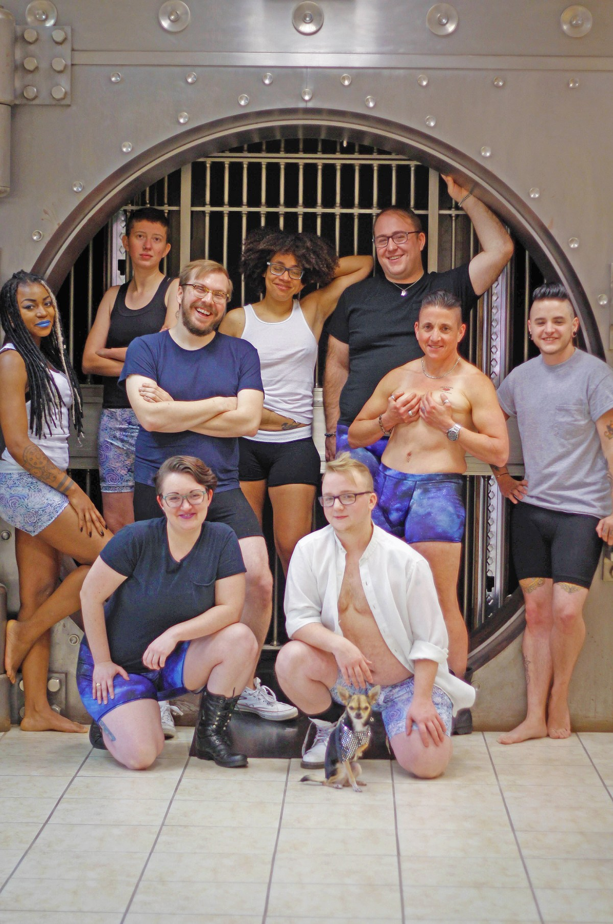 Of all the photos, I wish you could see this one. 9 people in gender-neutral boxer-briefs. Each in a different spot on the gender spectrum, smiling. Truly a beautiful show of emotion and happiness. You can feel this photo.