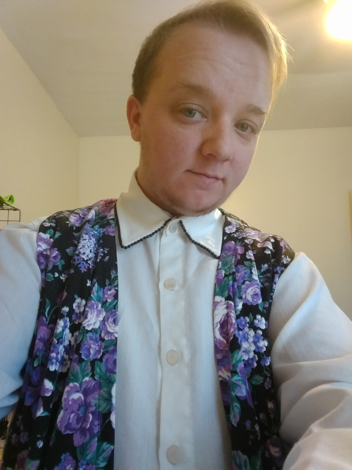 Noah in customized, dandy-esque menswear shirt