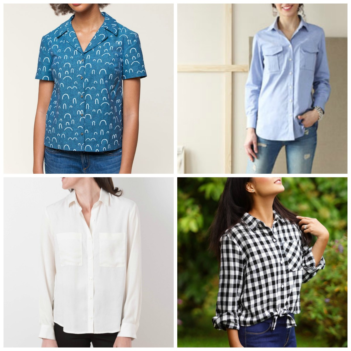 Picture collage showing four different shirt patterns as noted in the main text