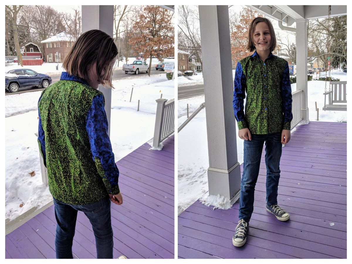 Two pictures of a young teen wearing a button-up shirt. On the left, the back view. On the right, the front view.