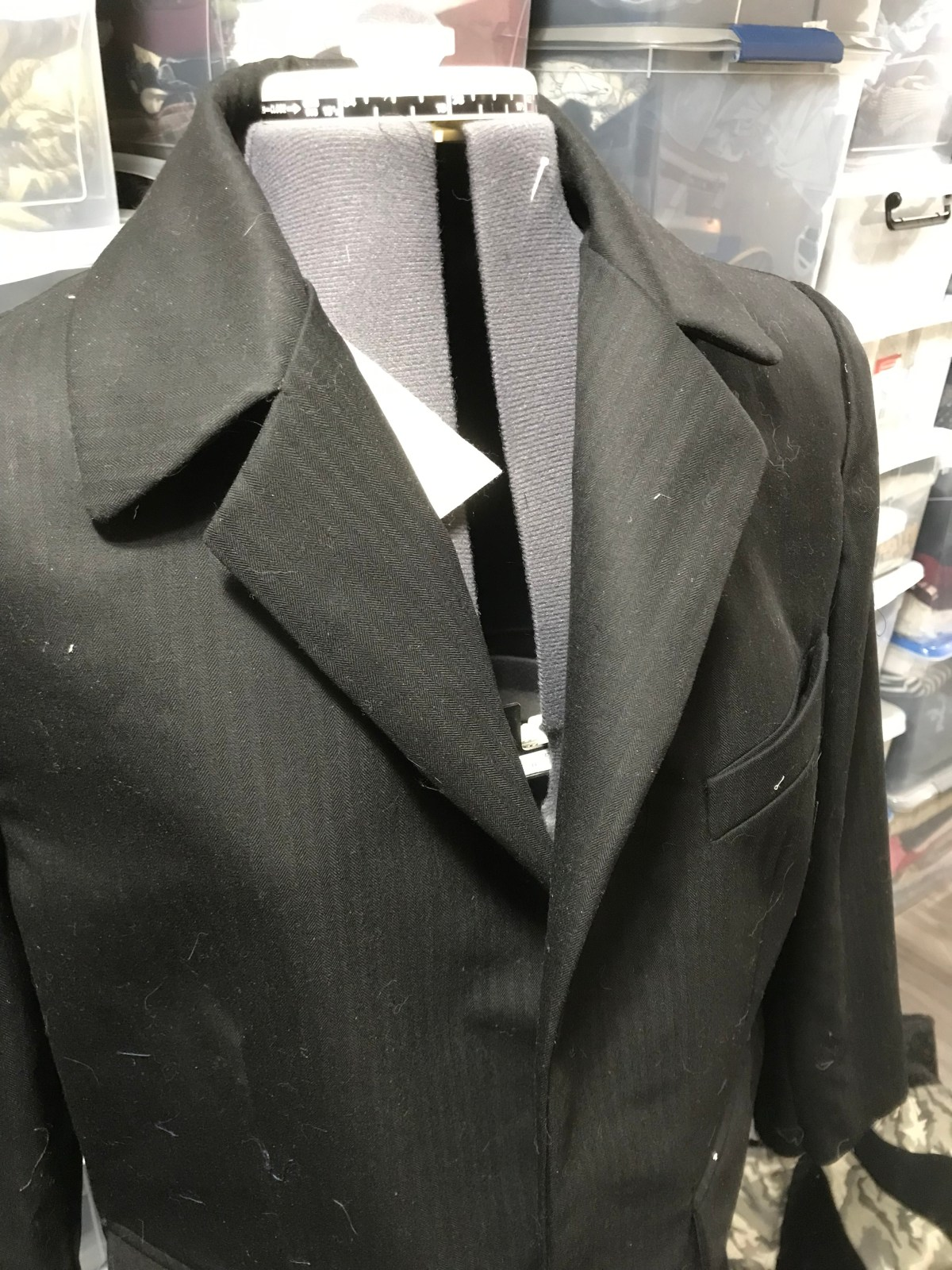 The finished jacket on a dressform