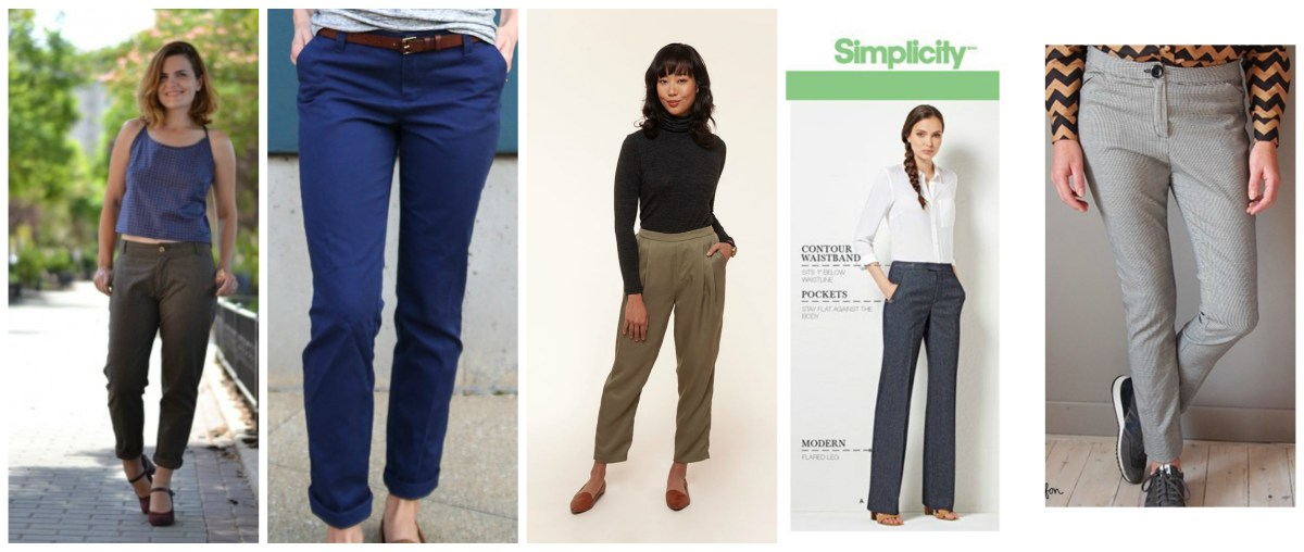 Picture coillage of five pants or trouser patterns