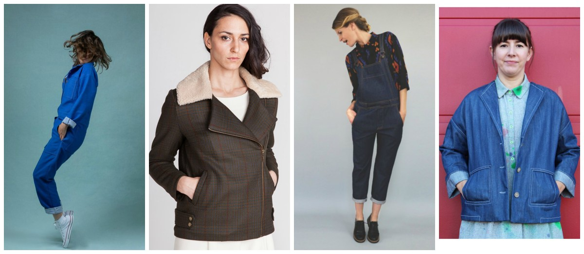 Picture collage of a boilersuit, two jackets and a dungaree or overalls pattern as mentioned in the main text
