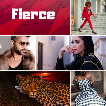 Collage of pictures representing the word fierce