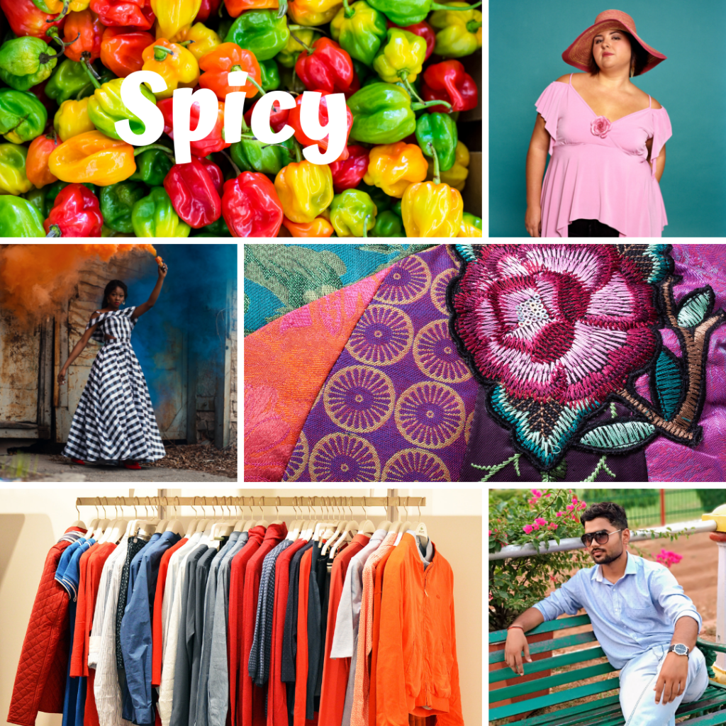 Collage of pictures representing the word spicy
