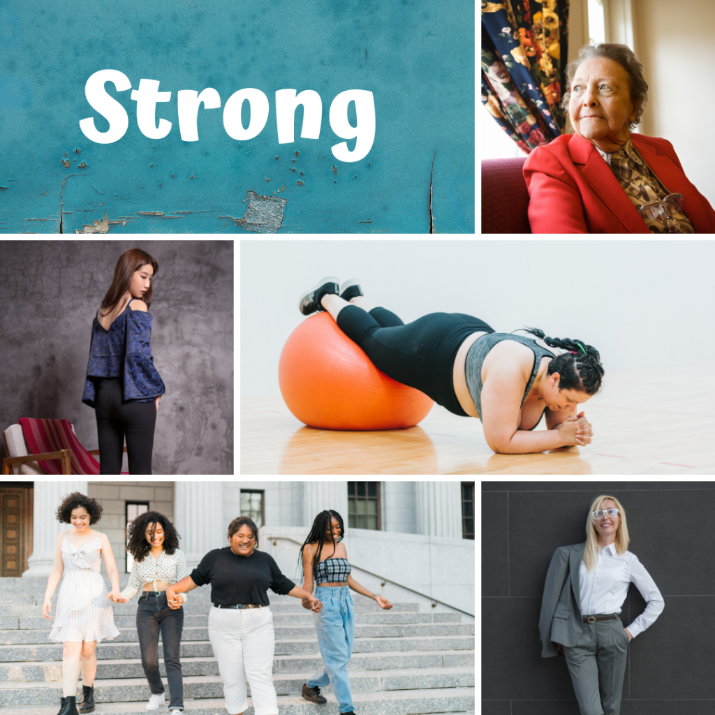 Collage of pictures representing the word strong