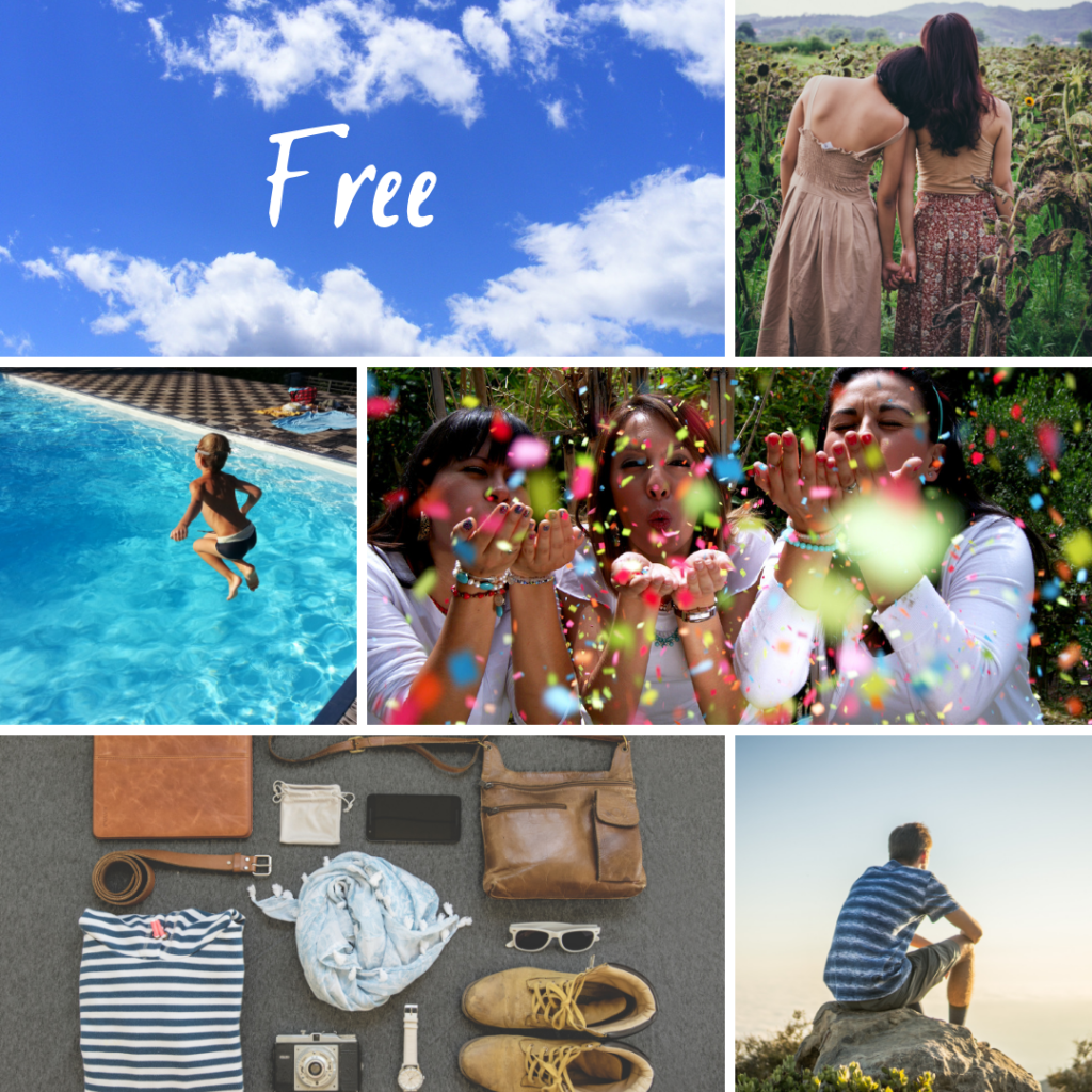 Collage of pictures representing the word free