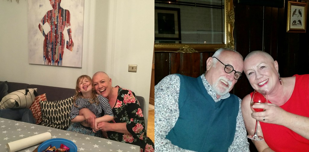 Two photos: Anita (40+ year old white woman with shaved head) hugging her granddaughter (under 10 years old, white girl) AND Anita sitting next to her brother (white man with bald head, white beard, and black glasses).