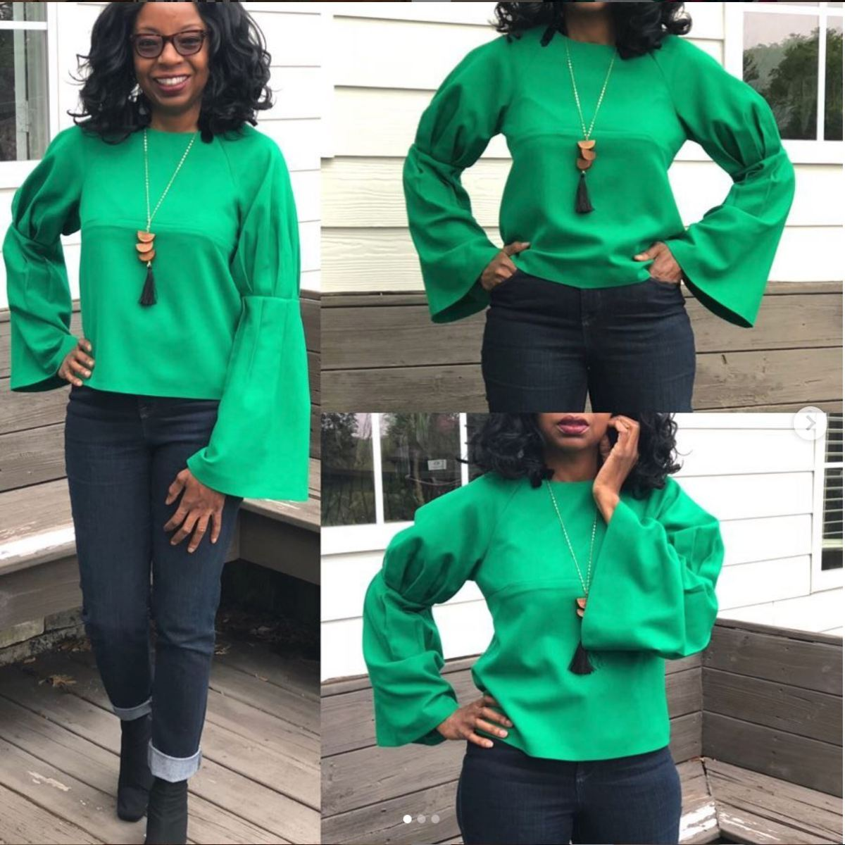 Bright green long sleeved top