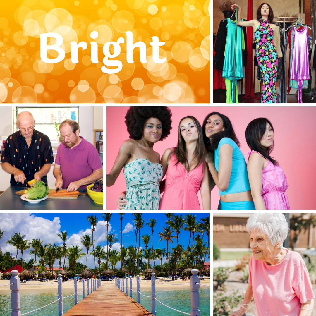 Collage of images representing the word bright