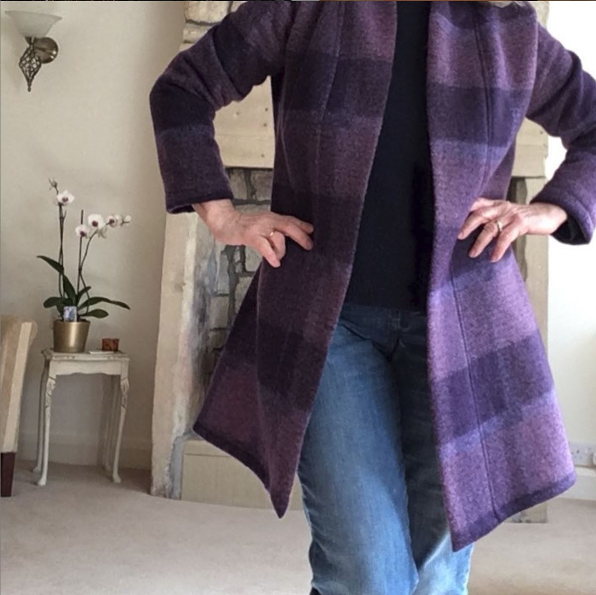 Purple checked coat