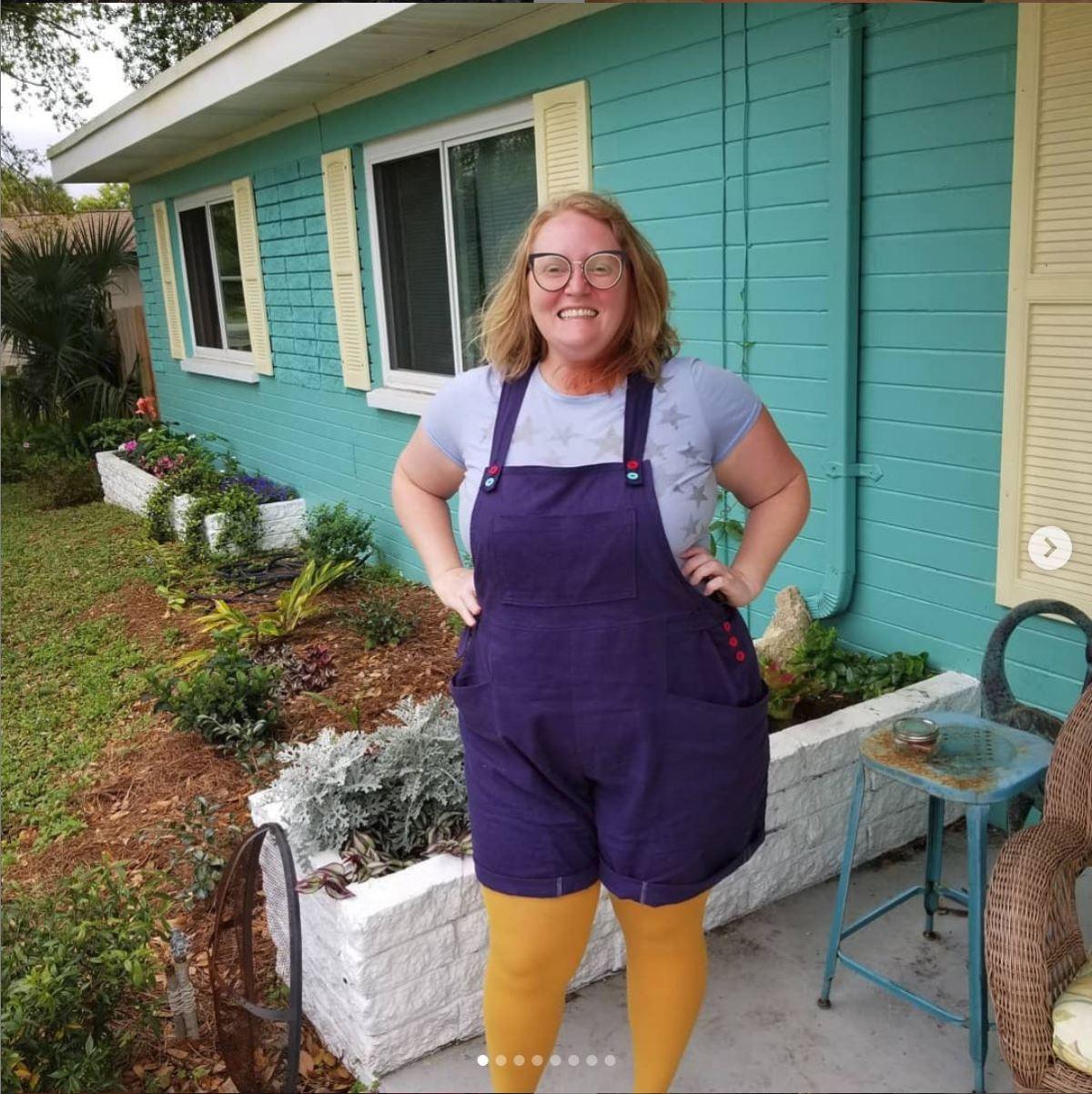 Purple short romper / overalls