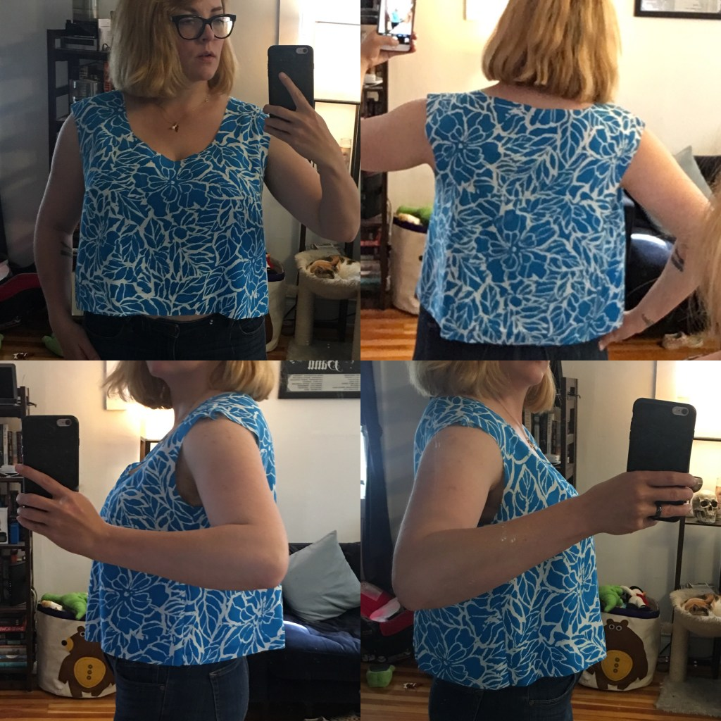 A collage of fitting photos of a sleeveless blouse, including front, back, and both sides, on the body.