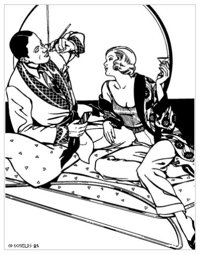 very art nouveau/deco black/white illustration of 20/30s couple with man smoking in smoking jacket, women drinking martini in smoking jacket