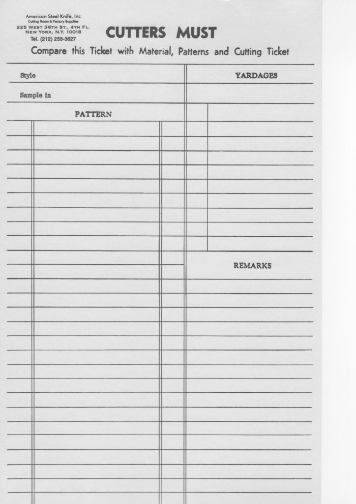Sample Cutters Must — a form ready to make notes on the pattern, yardages, and any remarks.