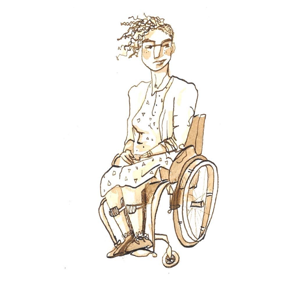 A sketch-style illustration of a seated woman in a wheelchair.