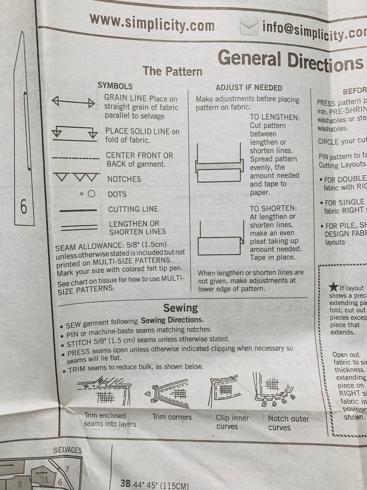 example of pattern marking on a sewing pattern