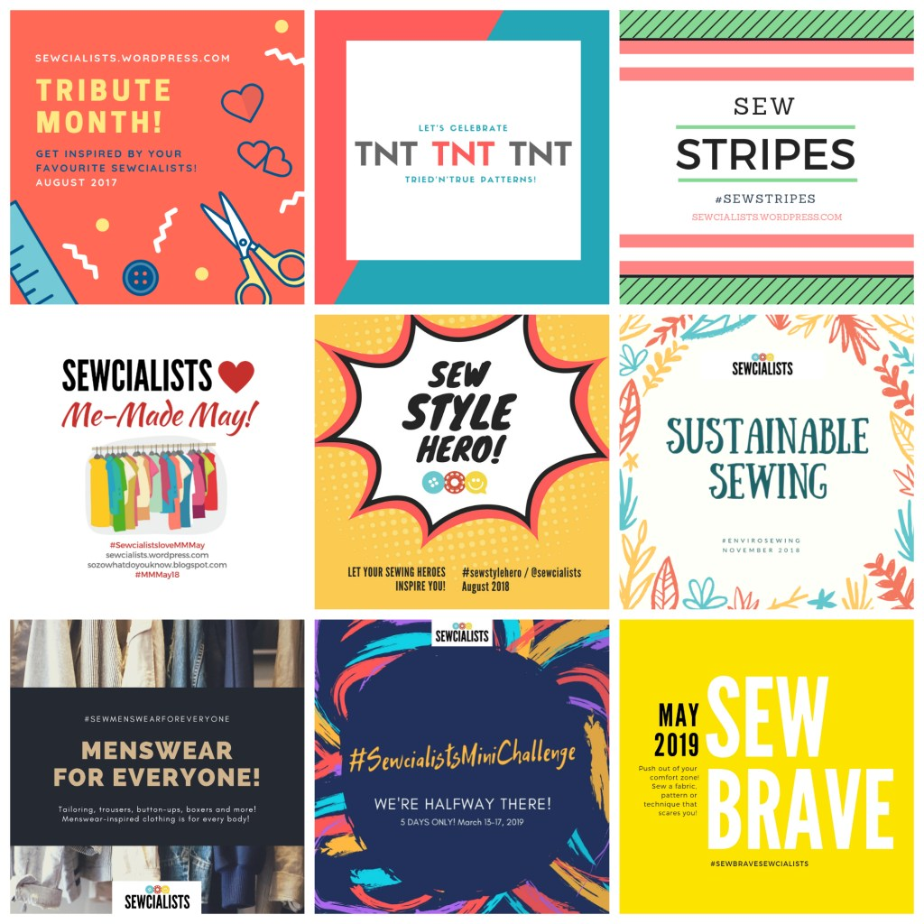 A collage of blog graphics from the Sewcialists, including banners for Tribute Month, TNT Month, Sew Stripes, Sewcialists Love Me-Made May, Sew Style Hero, Sustainable Sewing, Menswear for Everyone, Sewcialists Mini Challenge, and Sew Brave.