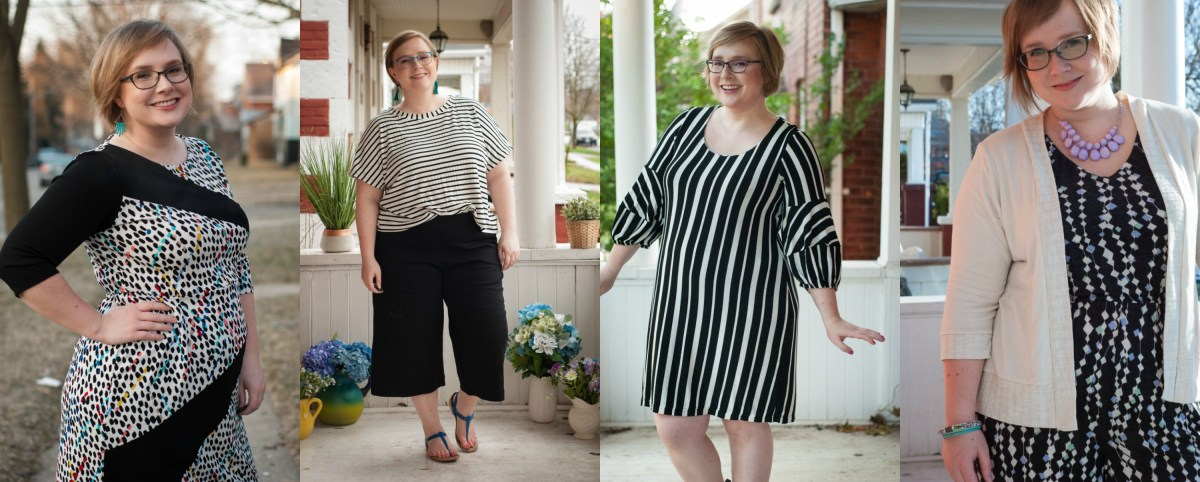 Gillian wears black and white! L-R: an asymmetrical dress with black blocks against a black-and-white-and-multicolour polkadot fabric; a black and white striped tee and black pants; a black and white striped dress; and a black and white jumpsuit with a white cardigan.