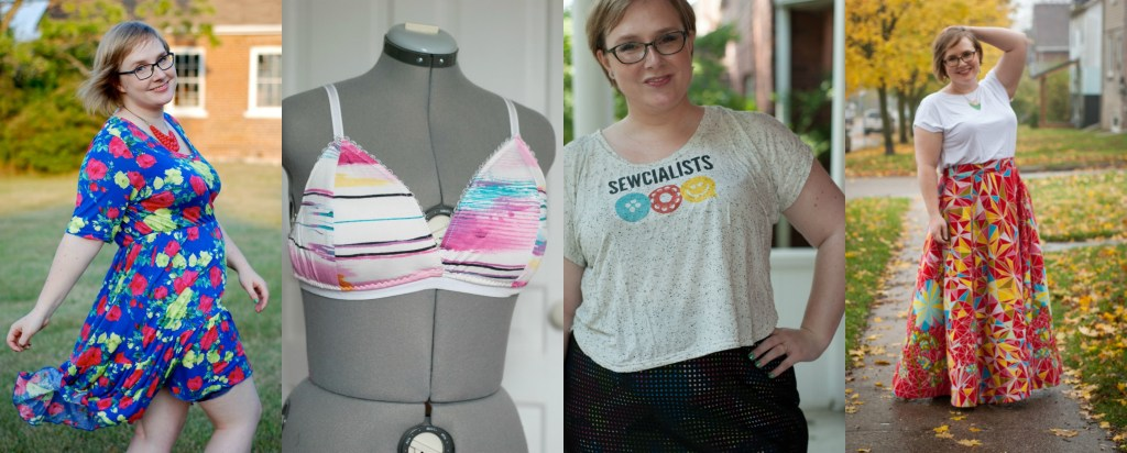 Gillian in her trademark multicolours! L-R: a dress with mutli-coloured splotchy print on a blue background; a bra (on a dressmaker's form) in white with blue and pink and yellow and black brushstrokes on white background; the Sewcialists logo tee; and a maxi skirt with red and yellow and blue print fabric.
