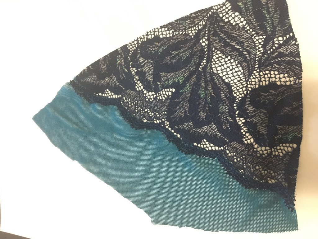 lace appliqued to mesh with mesh cut away from behind mesh fabric.