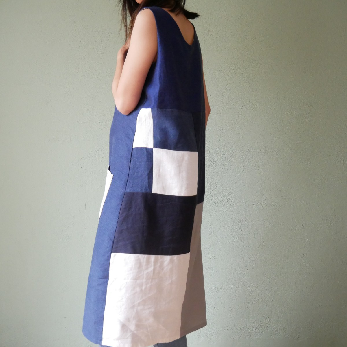 patchwork dress made by author in blue and white