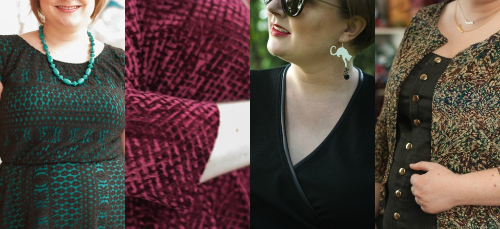 A collage of some of Gillian's makes: a dress with a black lace overlay over bright turquoise jersey; burgundy textured velvet; a black outfit with leather trim; and a wild knit jacket/cardigan.
