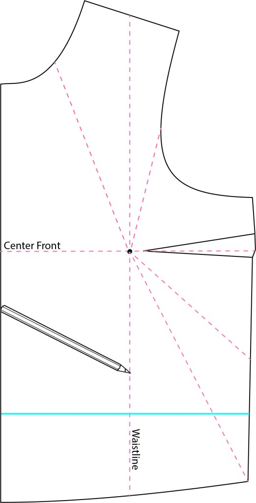 A graphic showing the pattern piece for a bodice, and various angles for rotating a bust dart