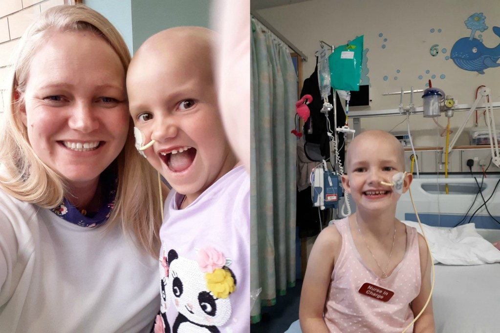 Photo montage of author with daughter in a hospital ward