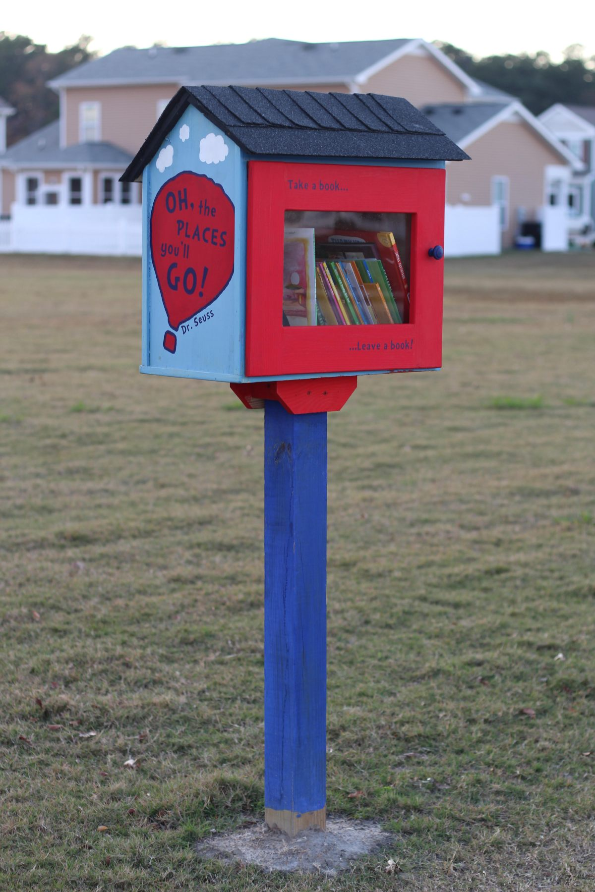 "A Little Free Library box sits atop a post in an open grass common area; a beige house can be seen in the background. The library box is brightly painted: the post is deep, bright blue; the door of the box is red, and has the phrase ""Take a book...Leave a book!"" printed on it in the same blue used to paint the post. The sides of the box are sky blue. The side that is visible features a red hot air balloon that says, ""Oh, the places you'll go!"" and an attribution to Dr. Seuss. The roof of the box is ""roofed"" with black asphalt shingles."