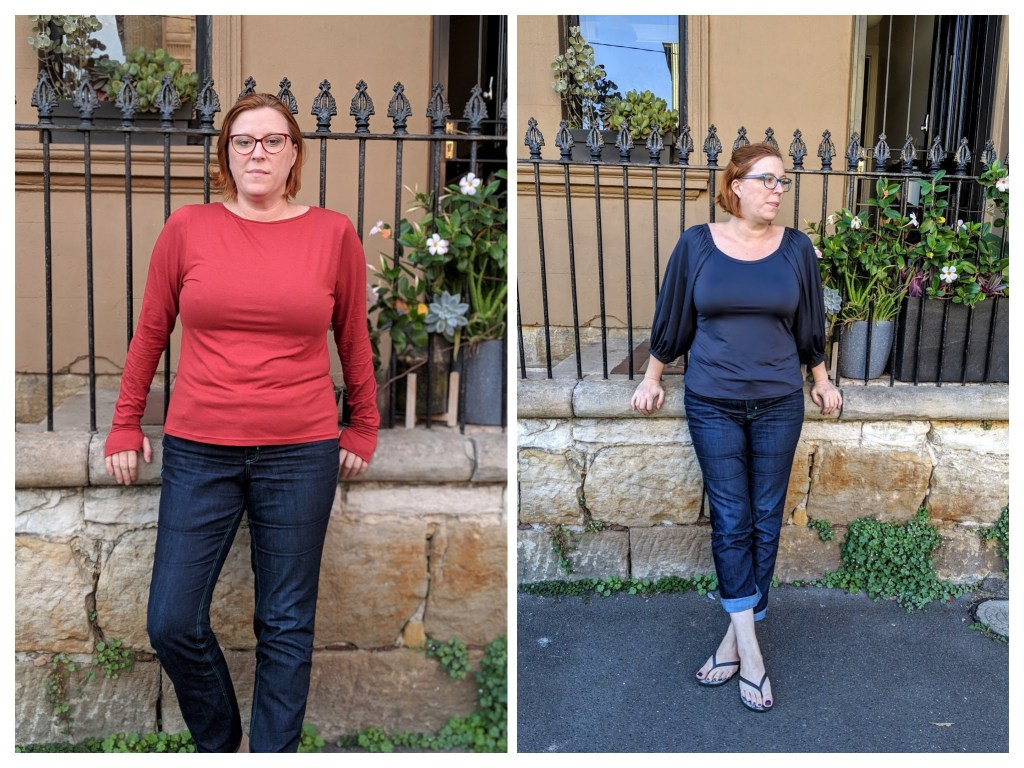Two pictures side by side.  In one, Chloe is wearing a red long sleeved top, in the other, a blue three quarter sleeved top with full sleeves.