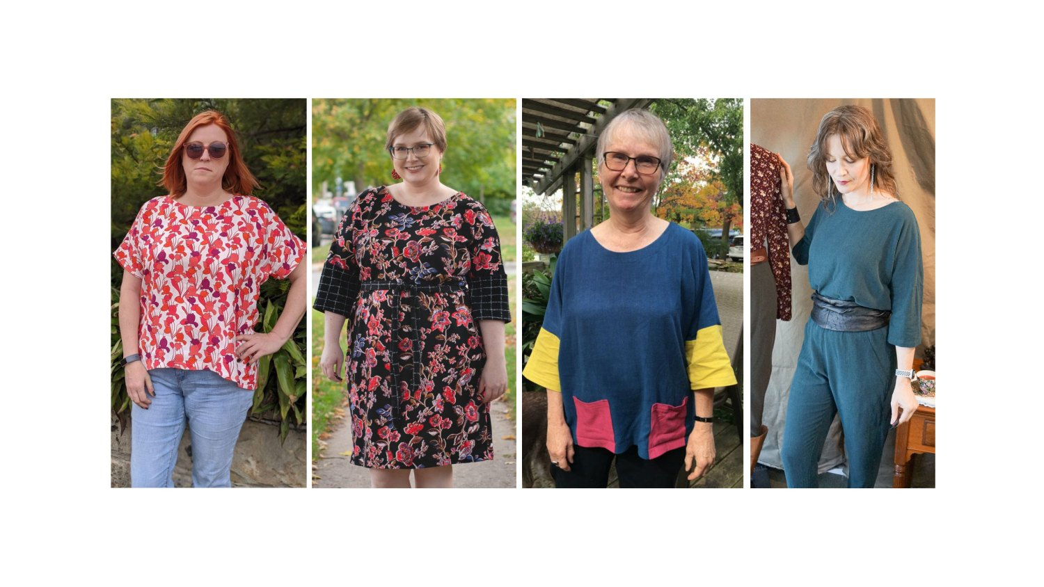 4 women wearing the Wiksten Shift pattern