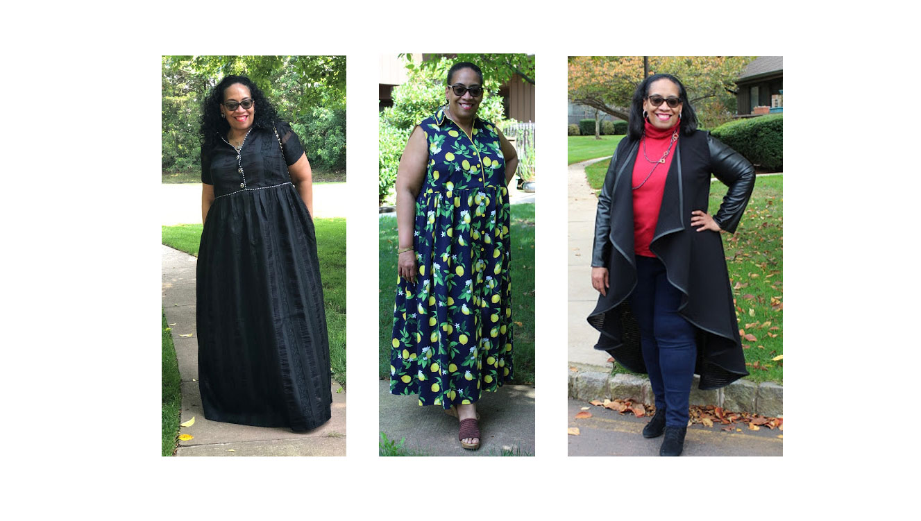 3 images of carolyn, a plus-sized black woman, in 3 of her favorite garments from 2019