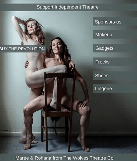 two women over 40, naked in an artistic pose