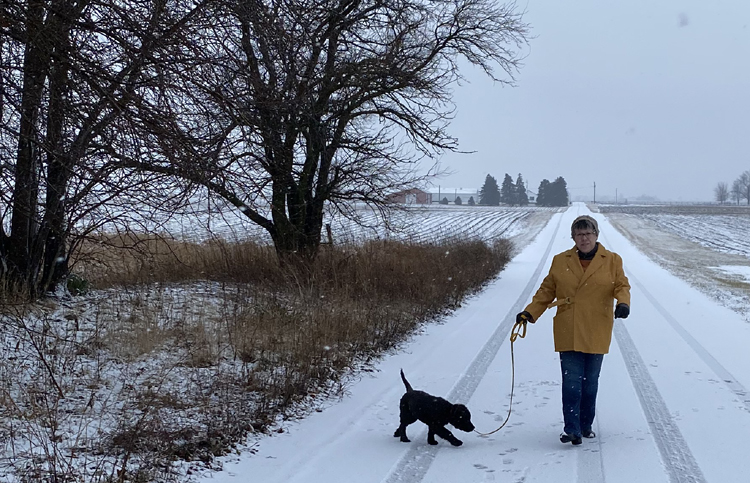 Liz walks her black puppy Vinnie down a snow-covered lane; farmland can be seen in the background, and snow is falling. Liz wears her goldenrod denim Sienna Maker Jacket, a beanie, a blue jeans.