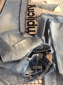 taking apart denim jeans