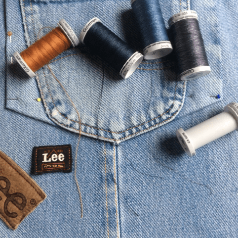 thread, labels, denim