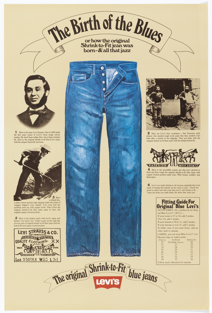 Vintage poster for Levi's jeans showing an image of a pair of jeans and text blurbs with information about Levi Strauss and the history of denim.