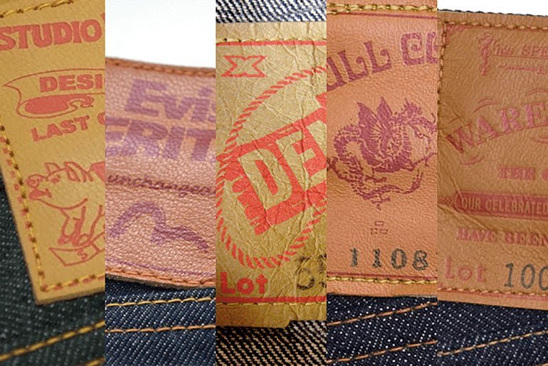 "Partial close-ups of 5 vintage jeans leather patches, one from each of the ""Osaka Five"": Studio D'Artisan, Denime, Evisu, Fullcount, and Warehouse."