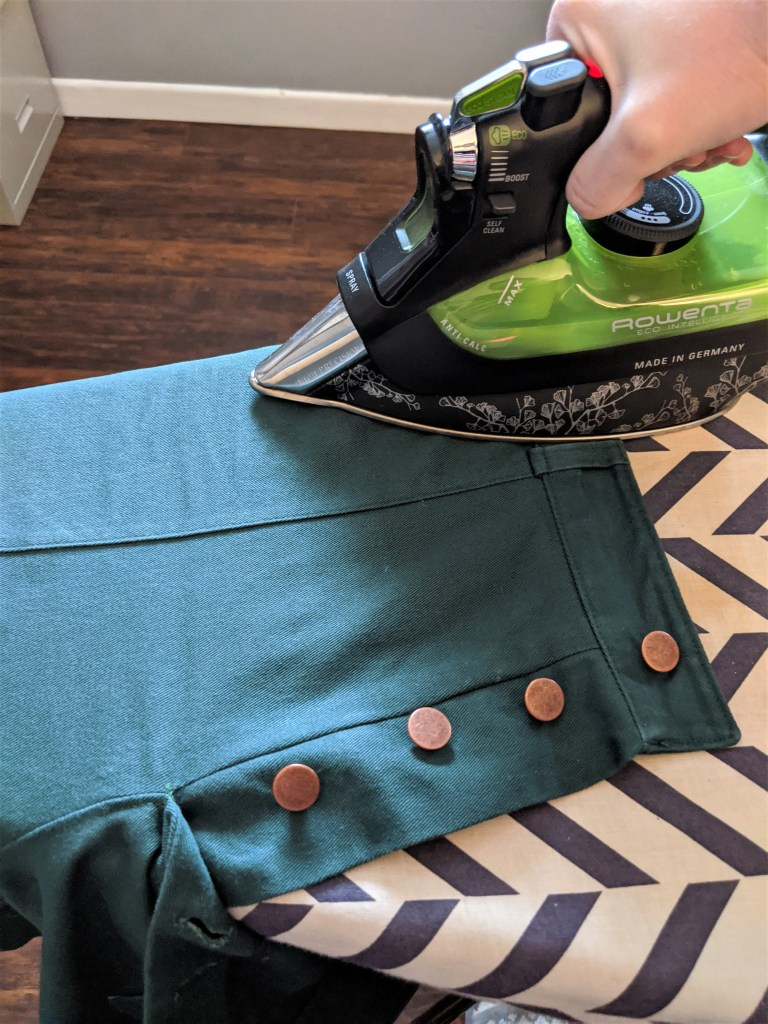Pressing the front pocket and waistband of the Lander pants
