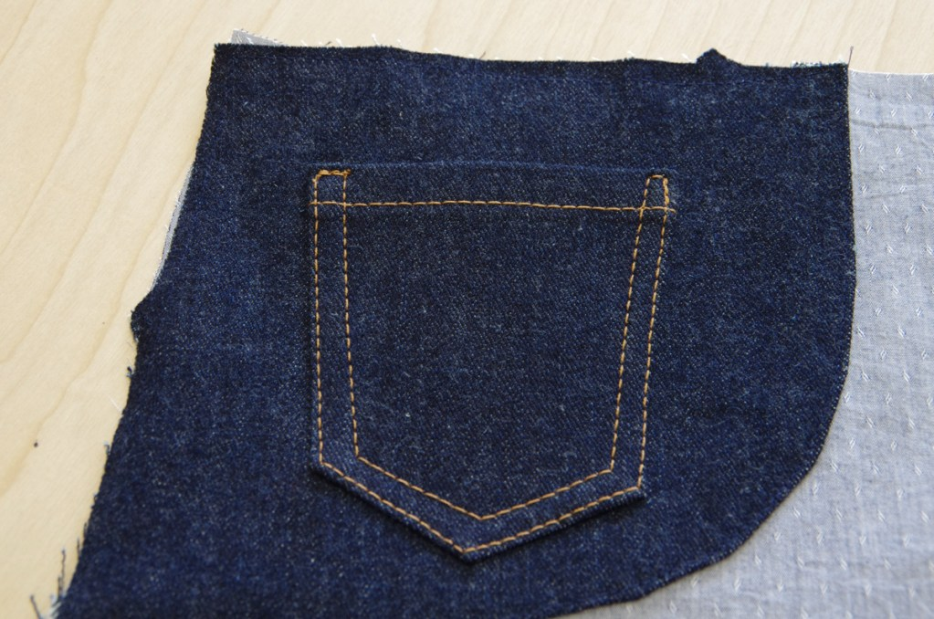 Top-stitching on a back pocket, from the Thread Theory sew-along