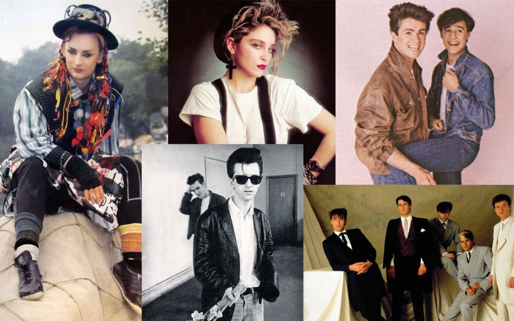 Images of bands in 1983: Culture  Club, Wham, Madonna, The Smiths, Spandau Ballet