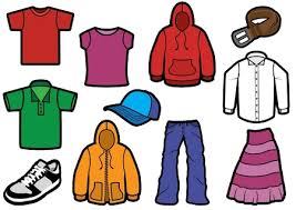 A cartoon drawing of different types of clothing