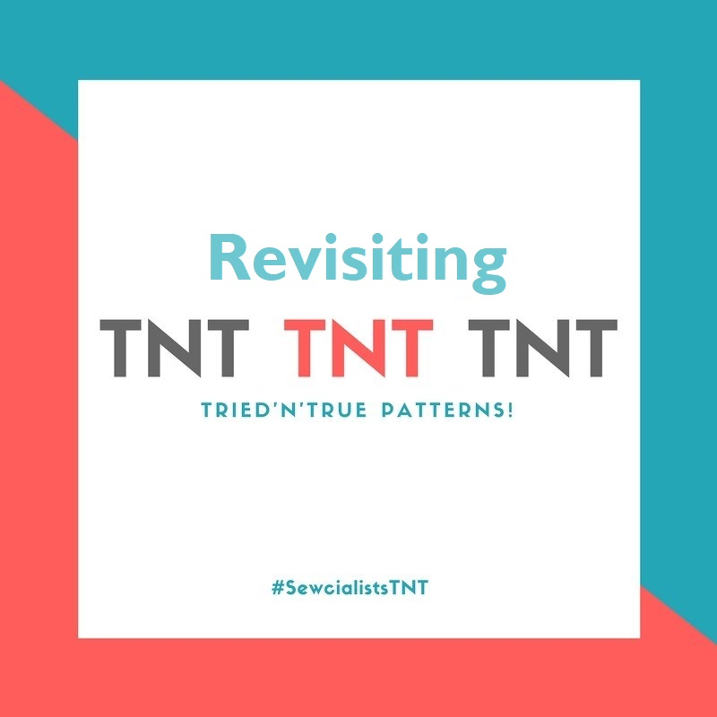 "The TNT theme month graphic: a white square with a border that's half teal, half coral, and the words ""Revisiting TNT TNT TNT Tried'n'true Patterns! #sewcialistsTNT""."