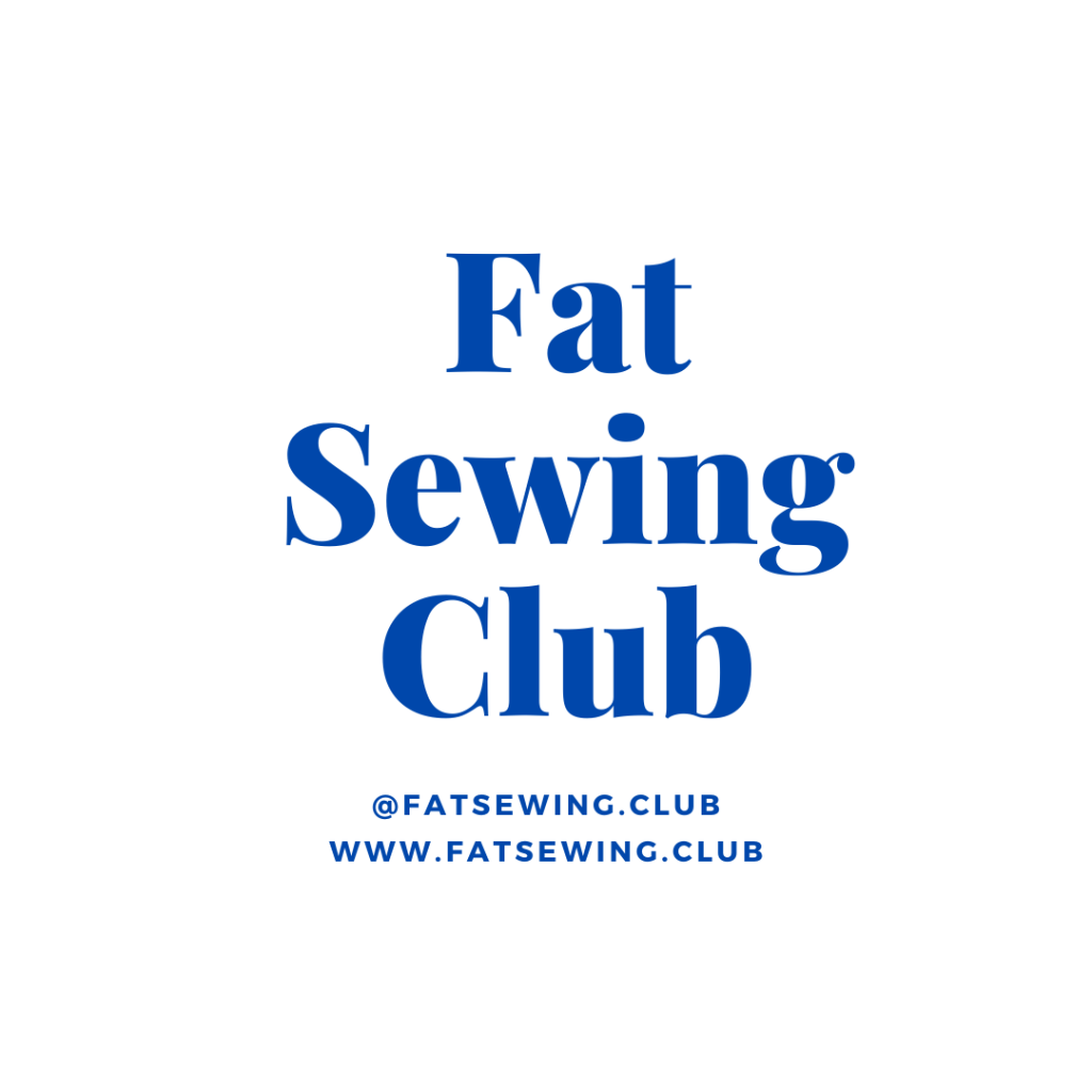 Fat Sewing Club logo on dark blue type