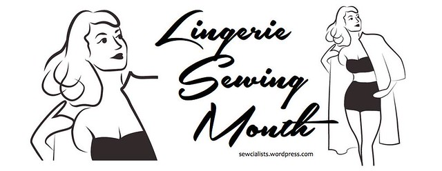 Logo for Lingerie Sewing Month with two vintage drawings of a woman, one a close-up, the other an image of the woman wearing a bra, underwear, and a robe.