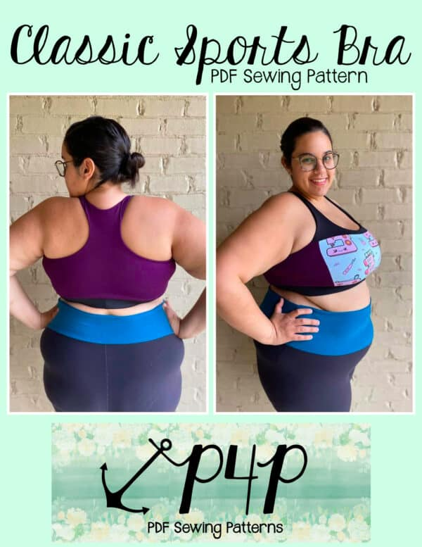 Pattern cover image of a person modeling a multicolor sports bra and leggings