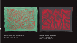 Two molas. The left one is green fabric with orange maze-like lines and the right one is grey fabric with red diamond and triangular shapes.